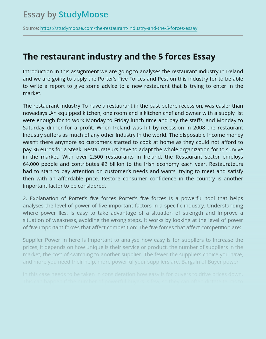 The restaurant industry and the 5 forces