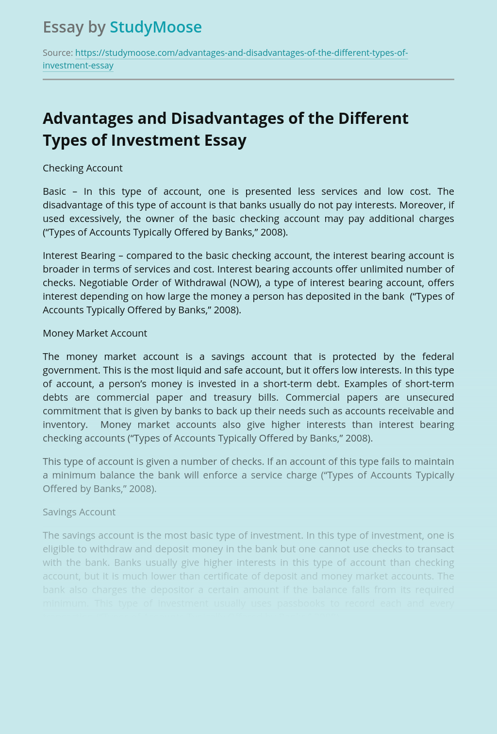 Different Types of Money Investment