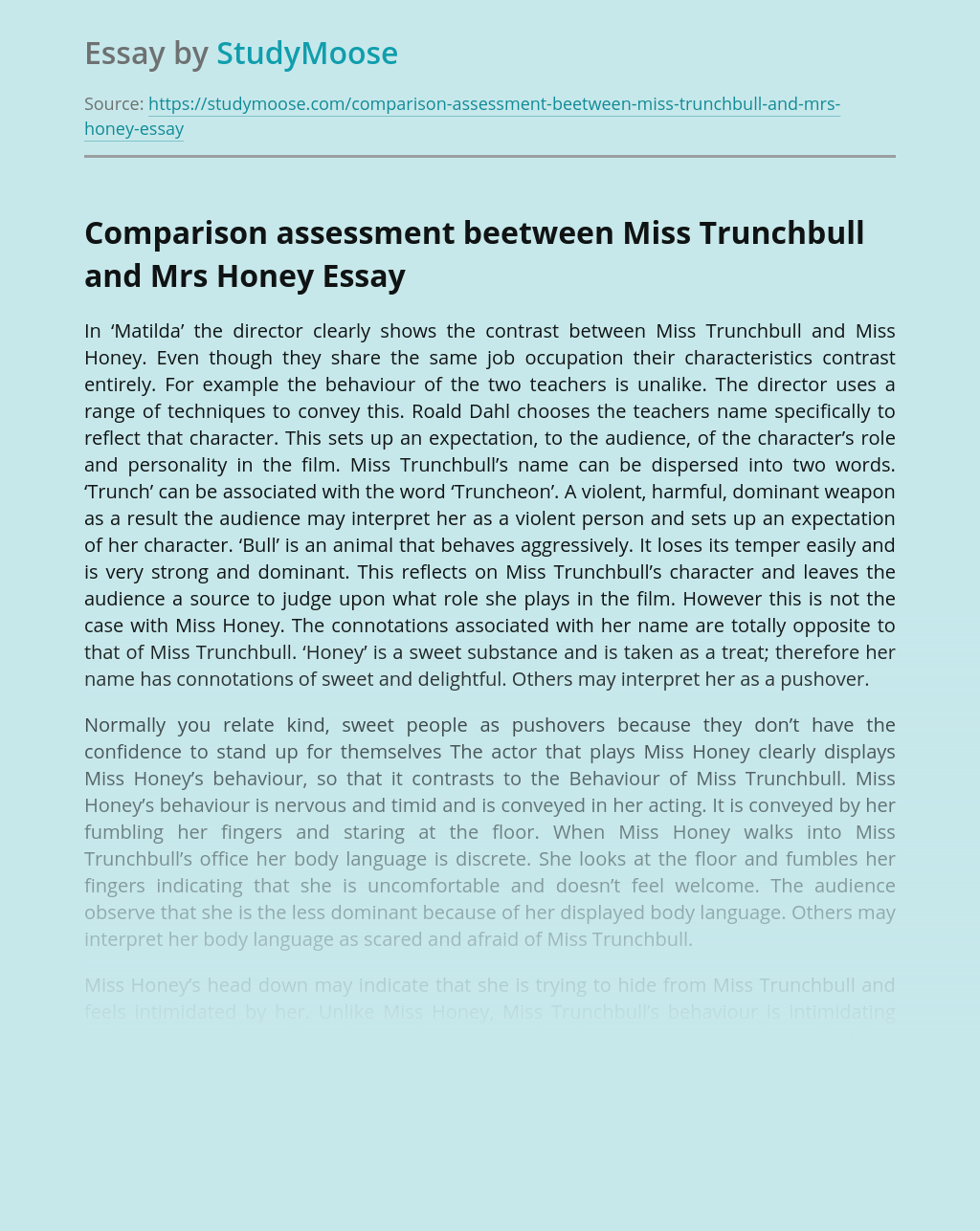 Comparison assessment beetween Miss Trunchbull and Mrs Honey