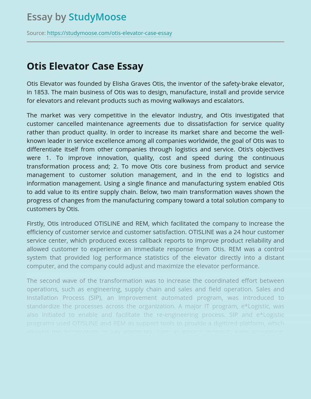Otis Elevator Case