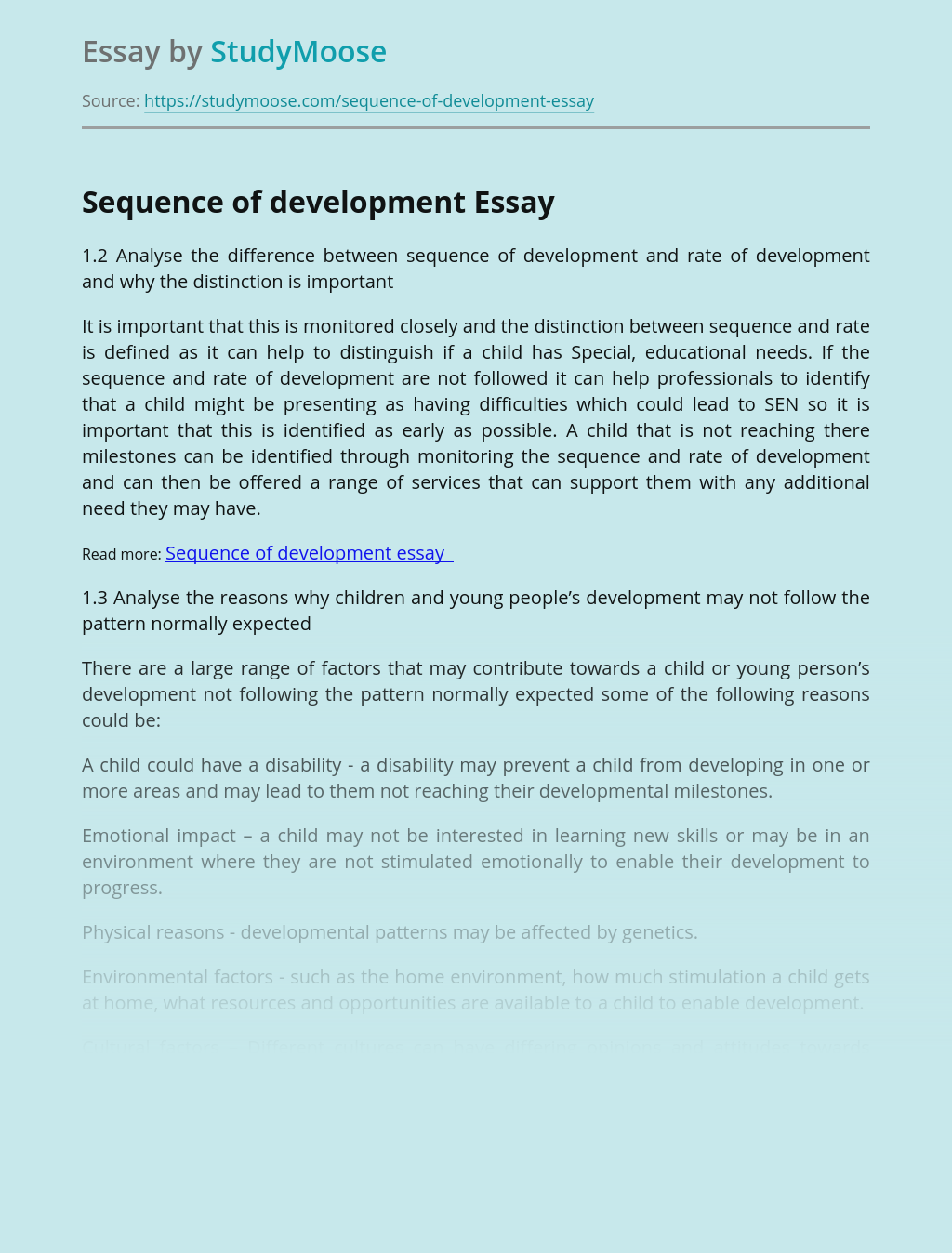Sequence of development