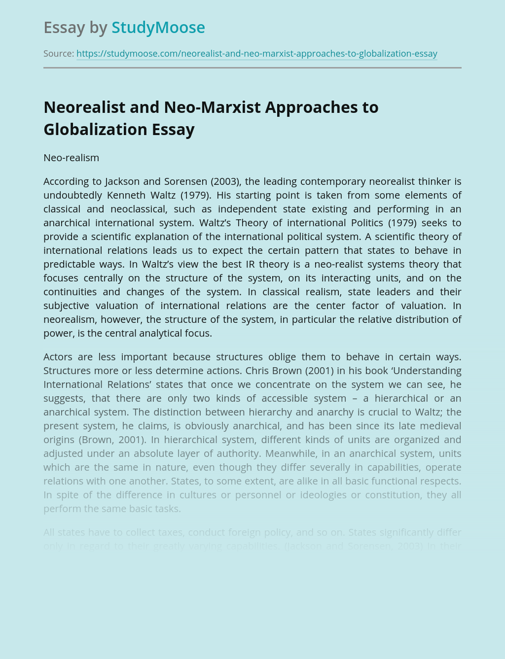 Neorealist and Neo-Marxist Approaches to Globalization