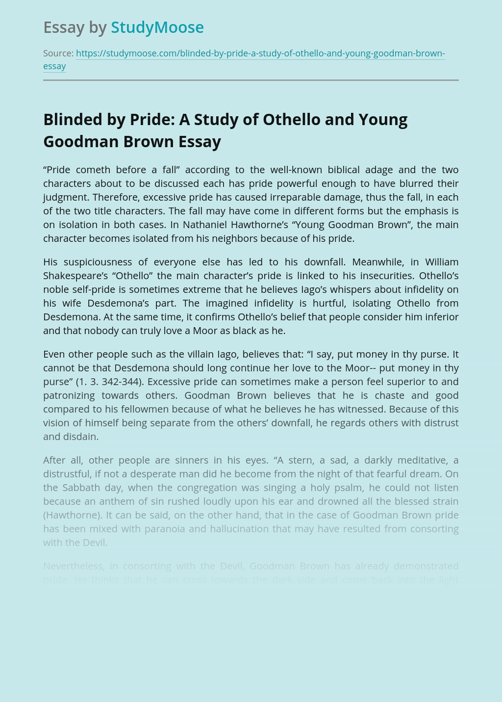 Blinded by Pride:  A Study of Othello and Young Goodman Brown