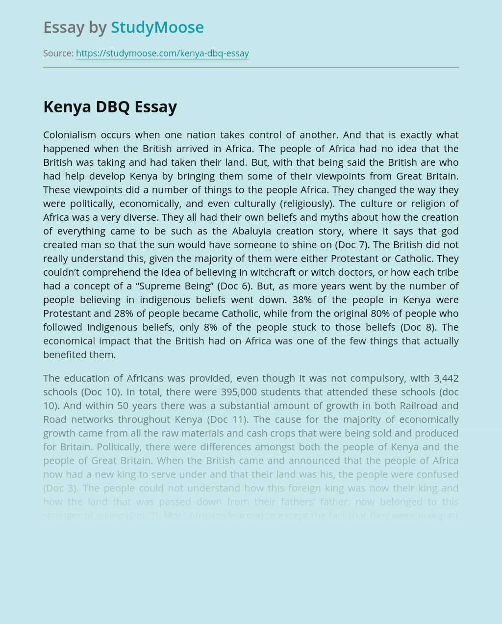Imperialism In Africa and Colonialization of Kenya