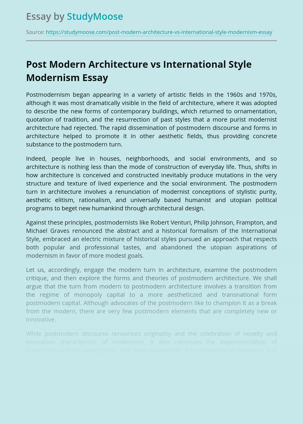 Post Modern Architecture vs International Style Modernism