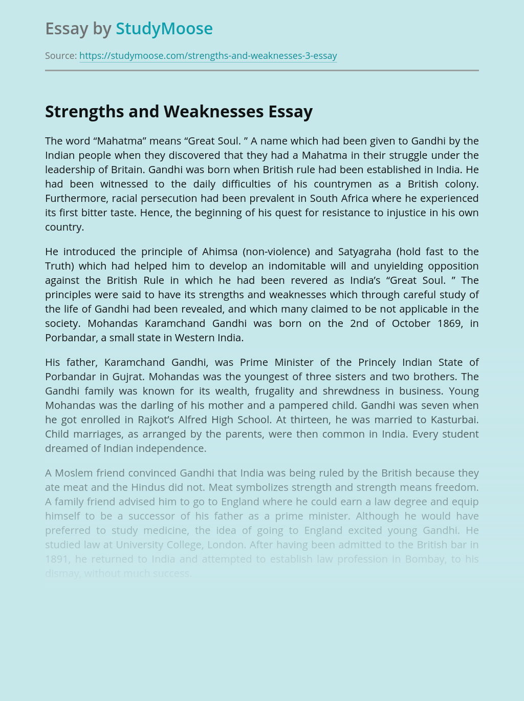 Strengths and Weaknesses of Gandhi Policies