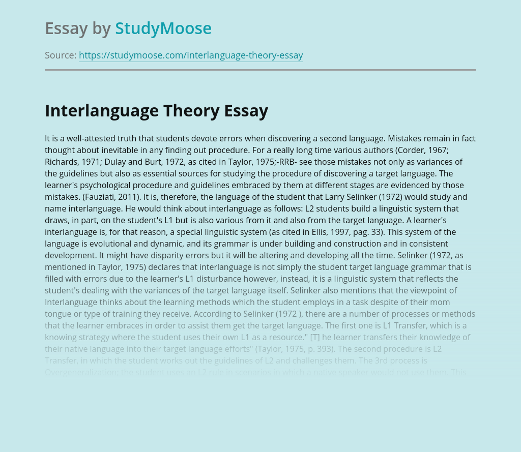 Language Acquisition According to Interlanguage Theory