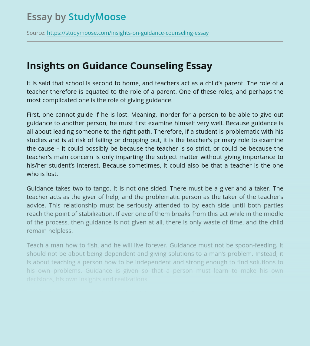 Insights on Guidance Counseling