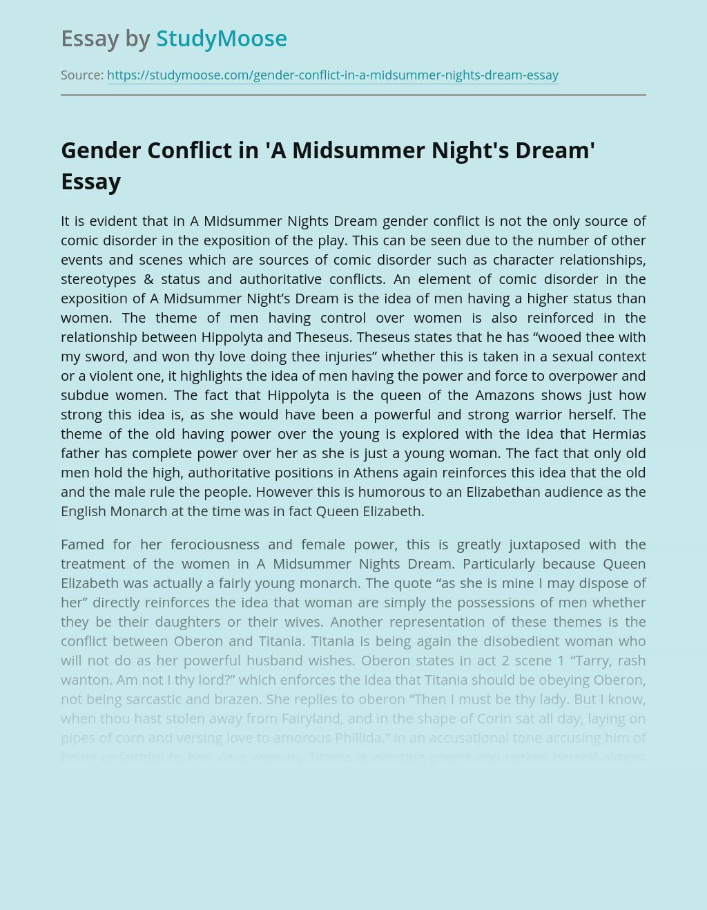 Gender Conflict in 'A Midsummer Night's Dream'