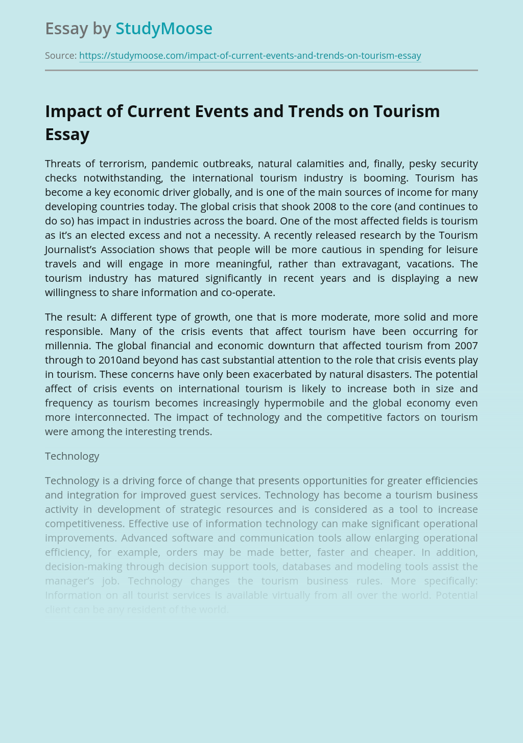 Impact of Current Events and Trends on Tourism