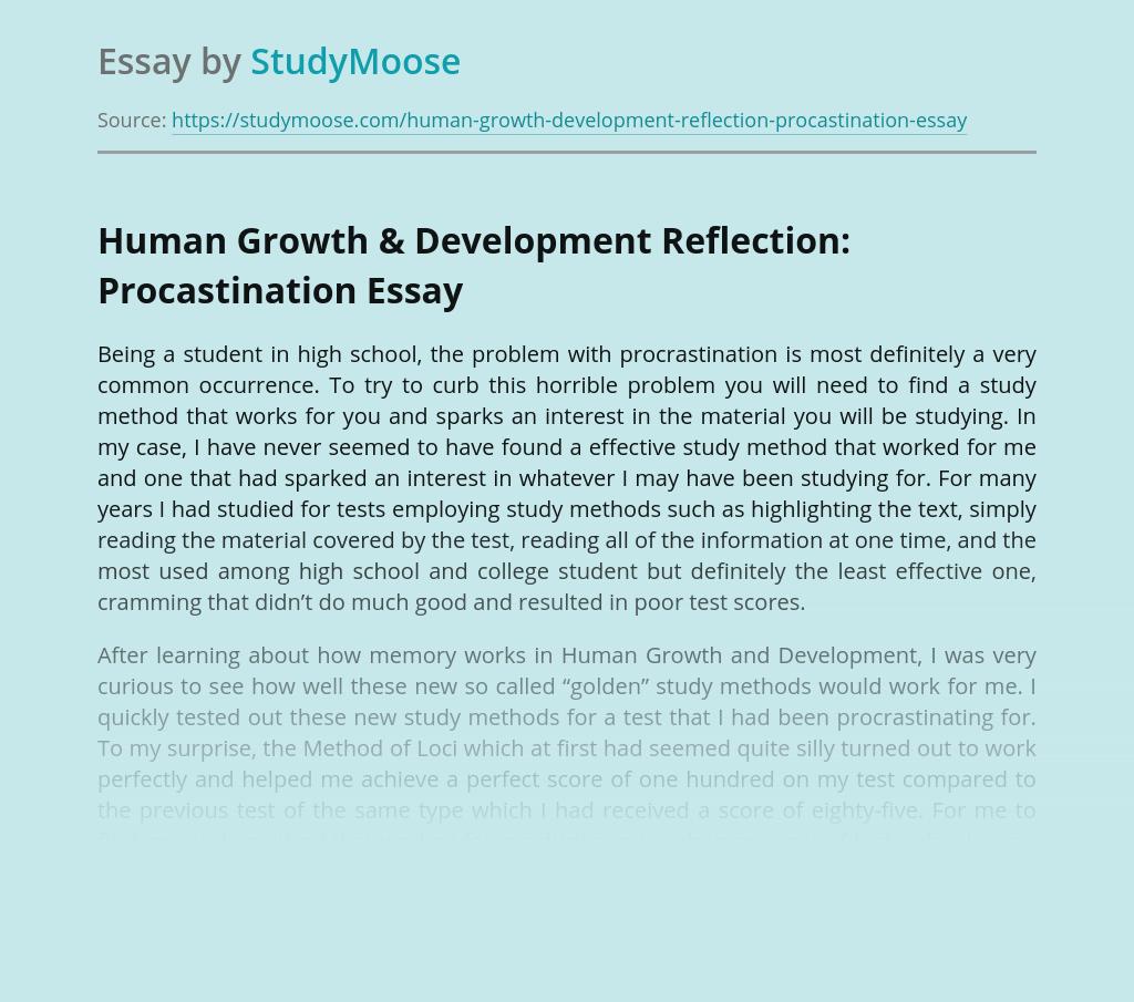 Human Growth & Development Reflection: Procastination