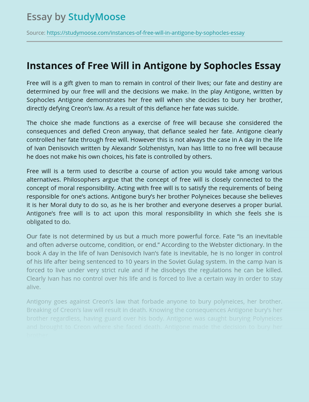 Instances of Free Will in Antigone by Sophocles