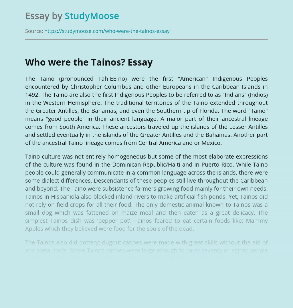 Who were the Tainos People