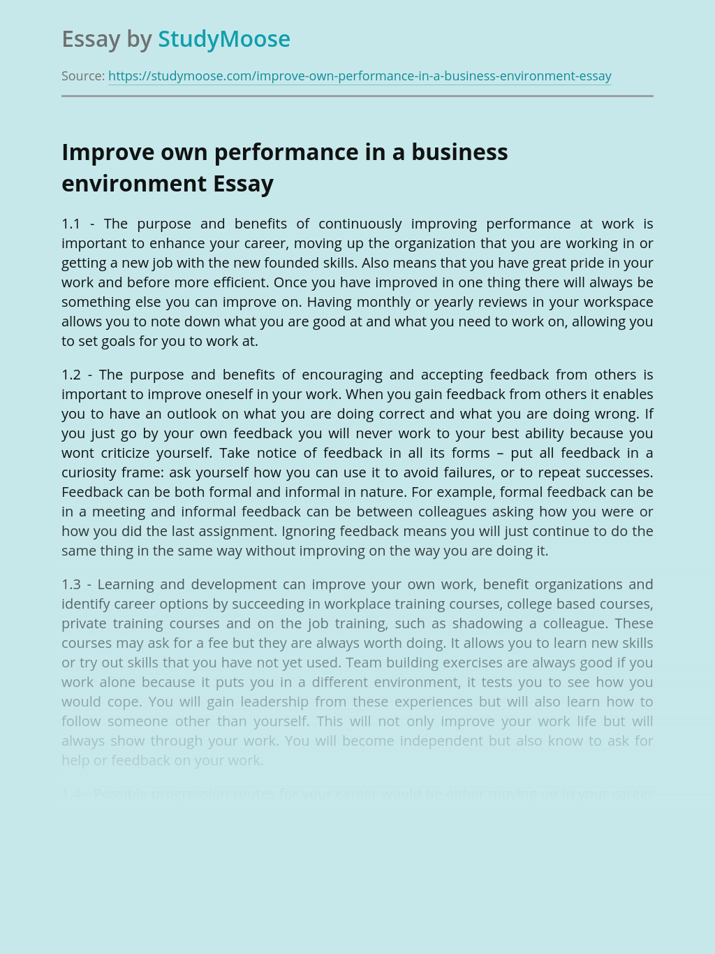 Improve own performance in a business environment