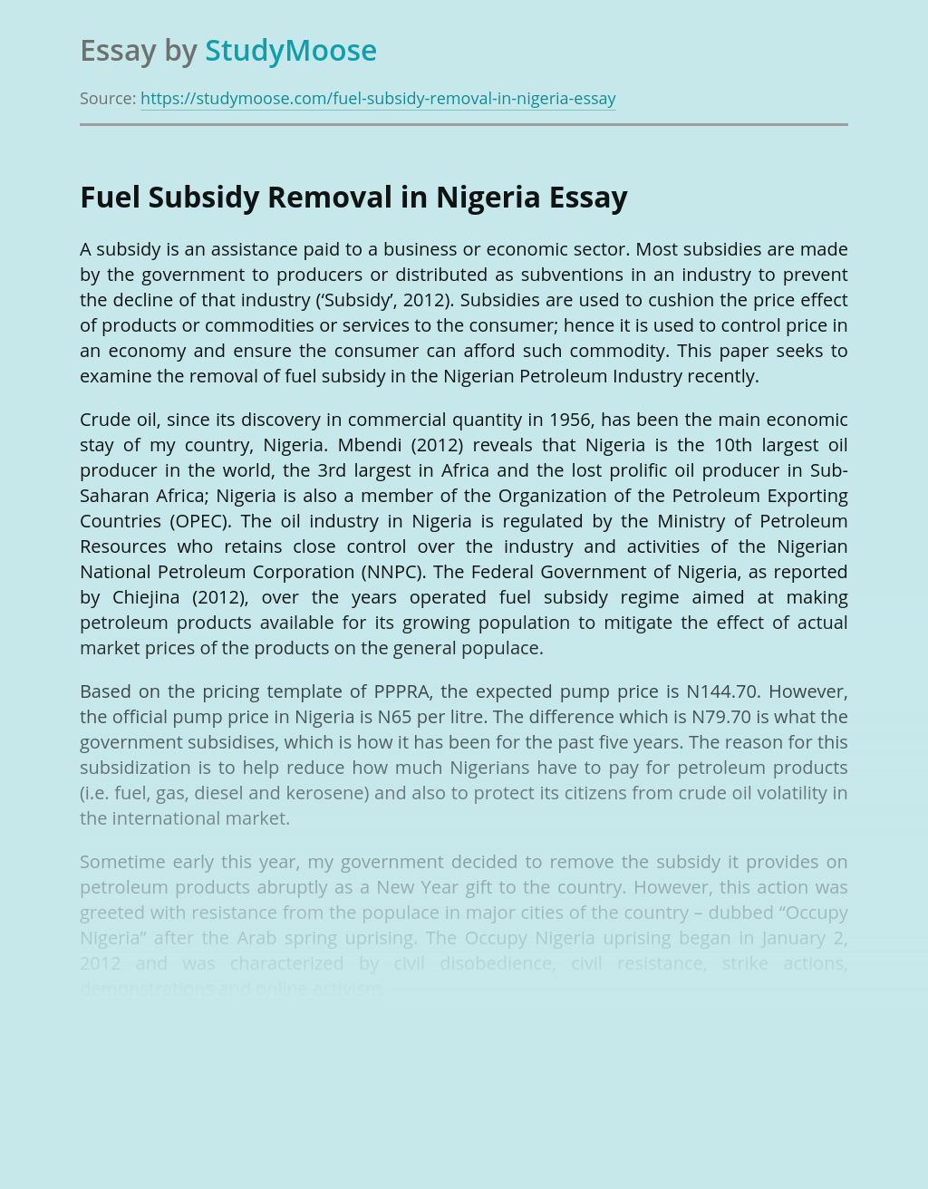 Fuel Subsidy Removal in Nigeria