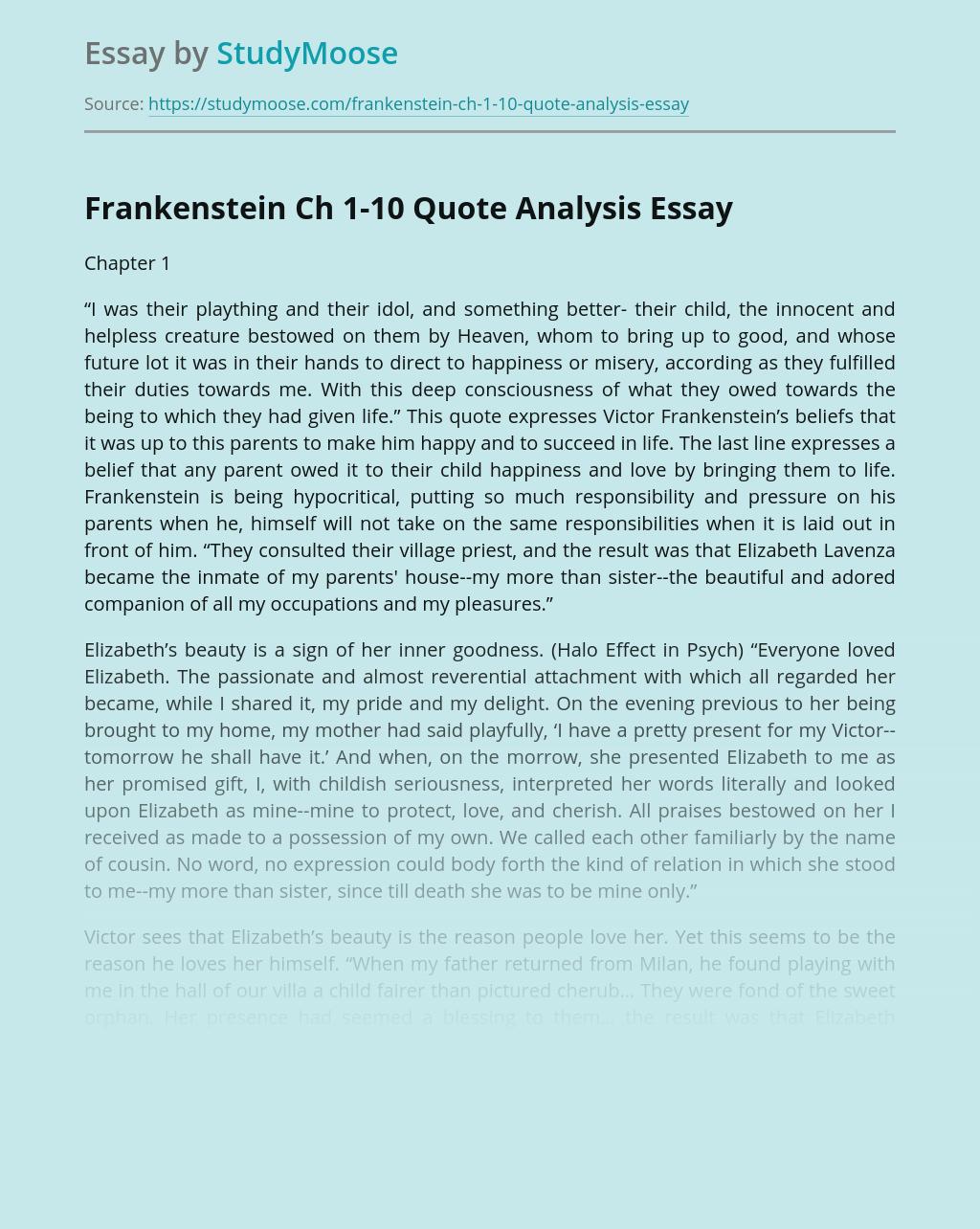 Frankenstein Ch 1-10 Quote Analysis