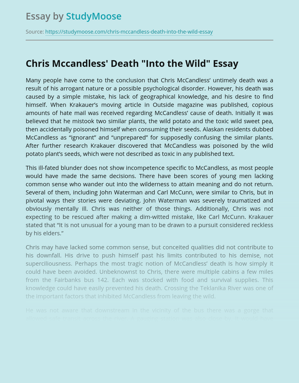 """Chris Mccandless' Death """"Into the Wild"""""""