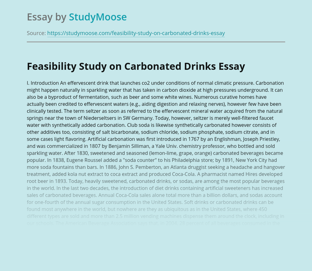 Feasibility Study on Carbonated Drinks
