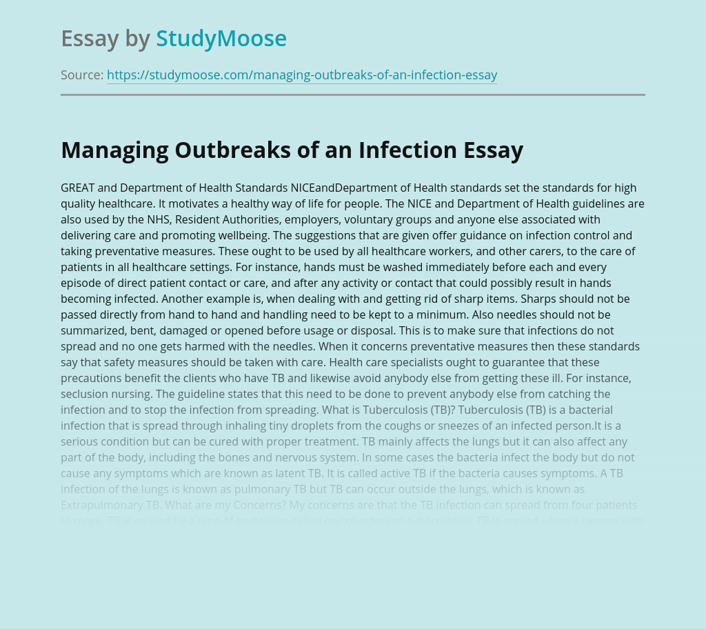Managing Outbreaks of a Tuberculosis Infection