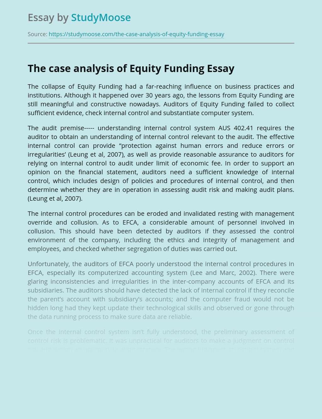 The Case Analysis of Equity Funding