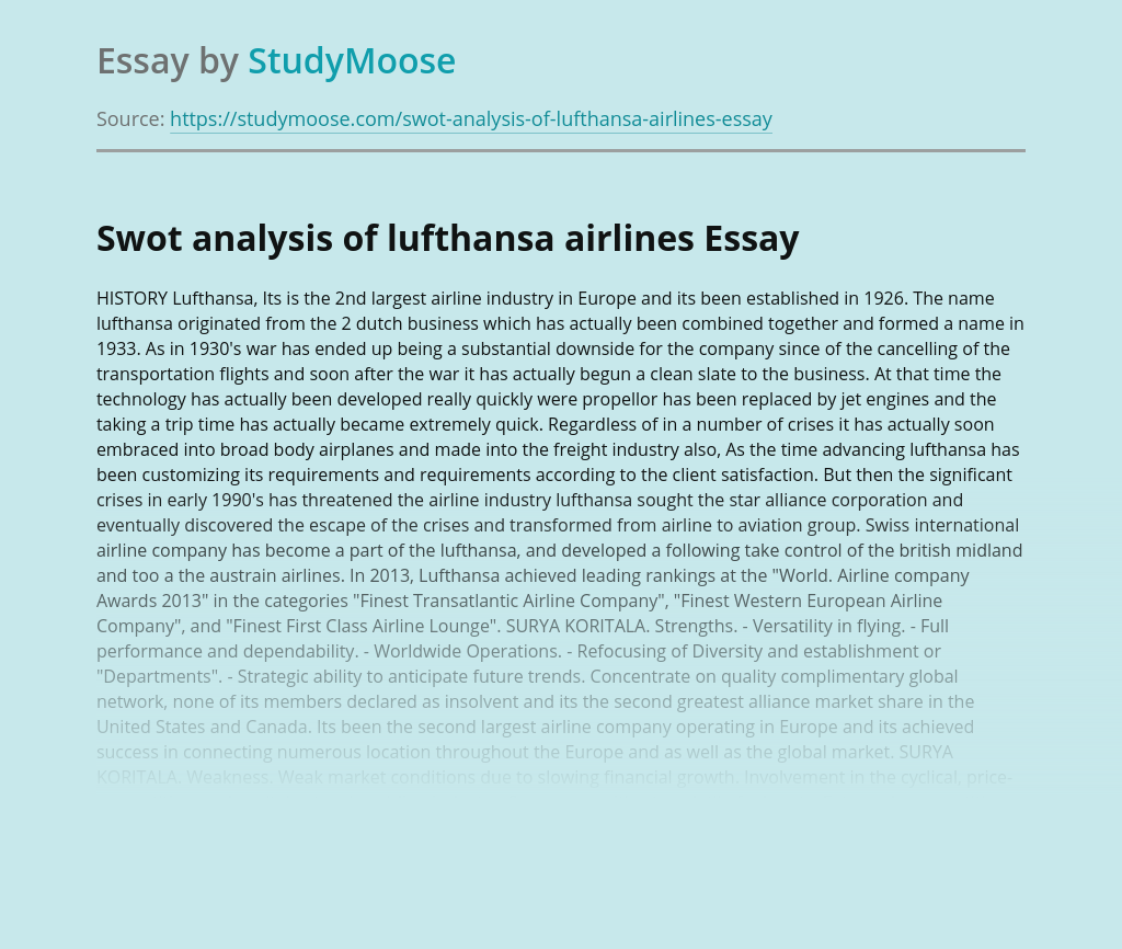 Swot analysis of lufthansa airlines