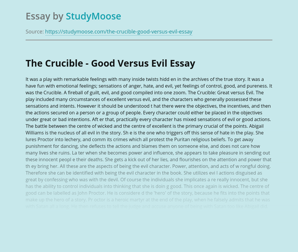 The Crucible - Good Versus Evil