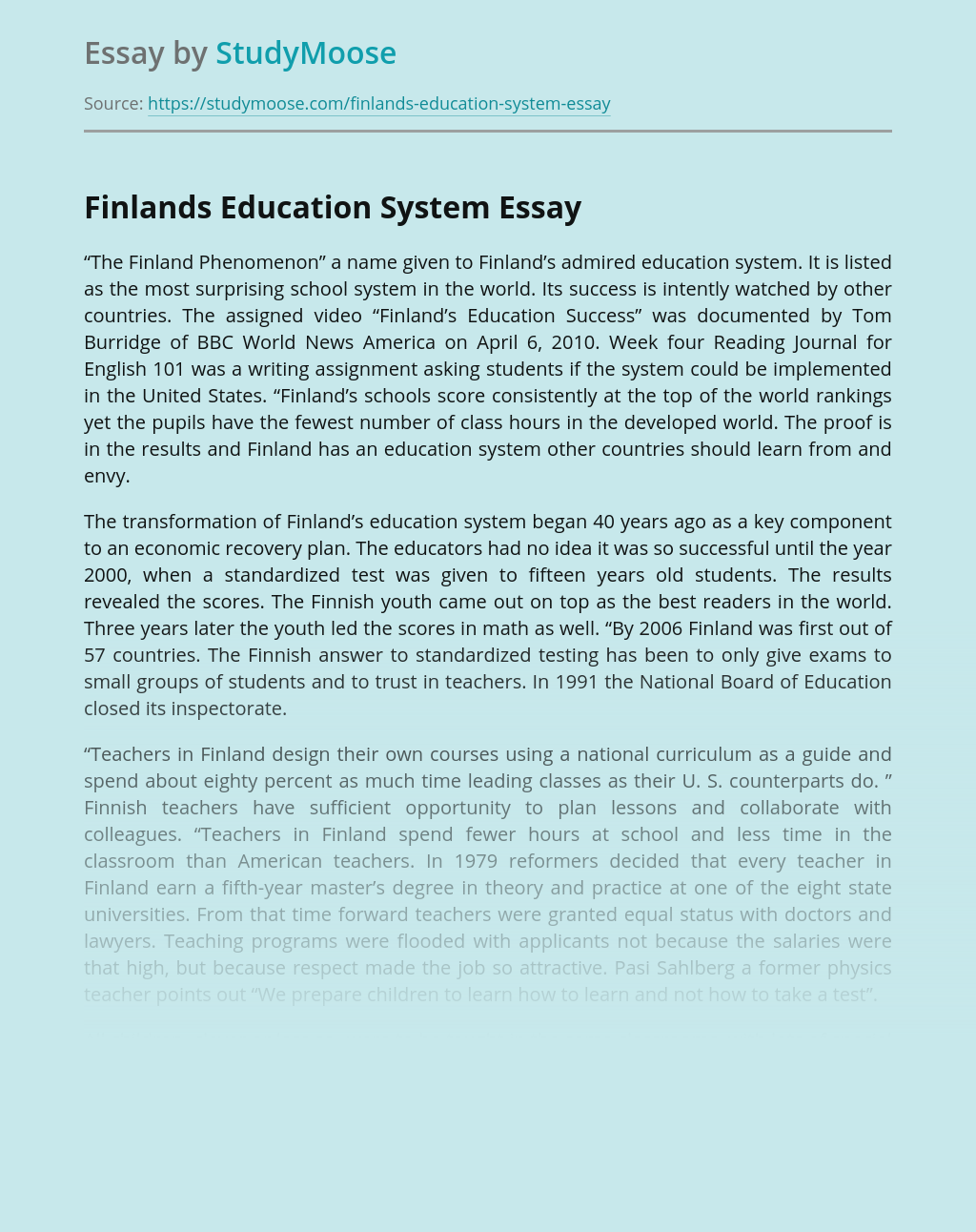 Finlands Education System