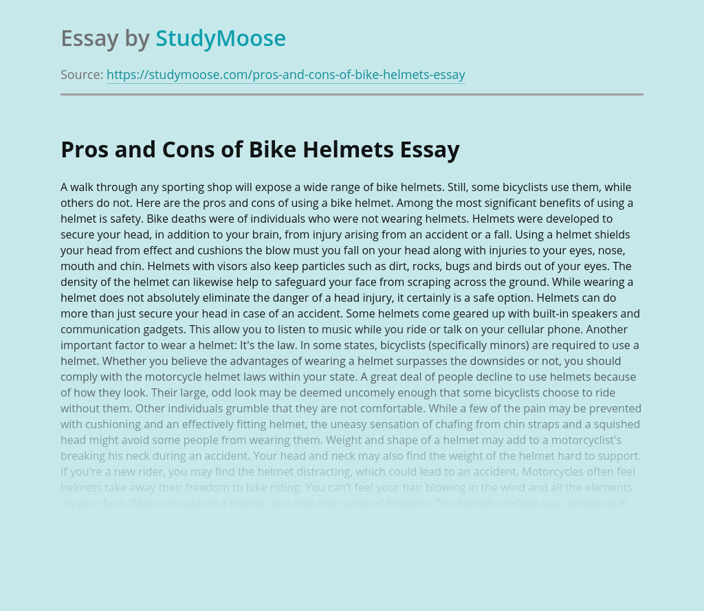 Pros and Cons of Bike Helmets