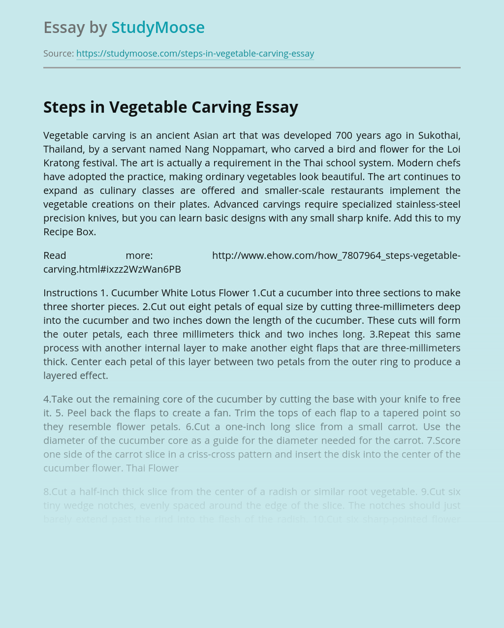 Steps in Vegetable Carving