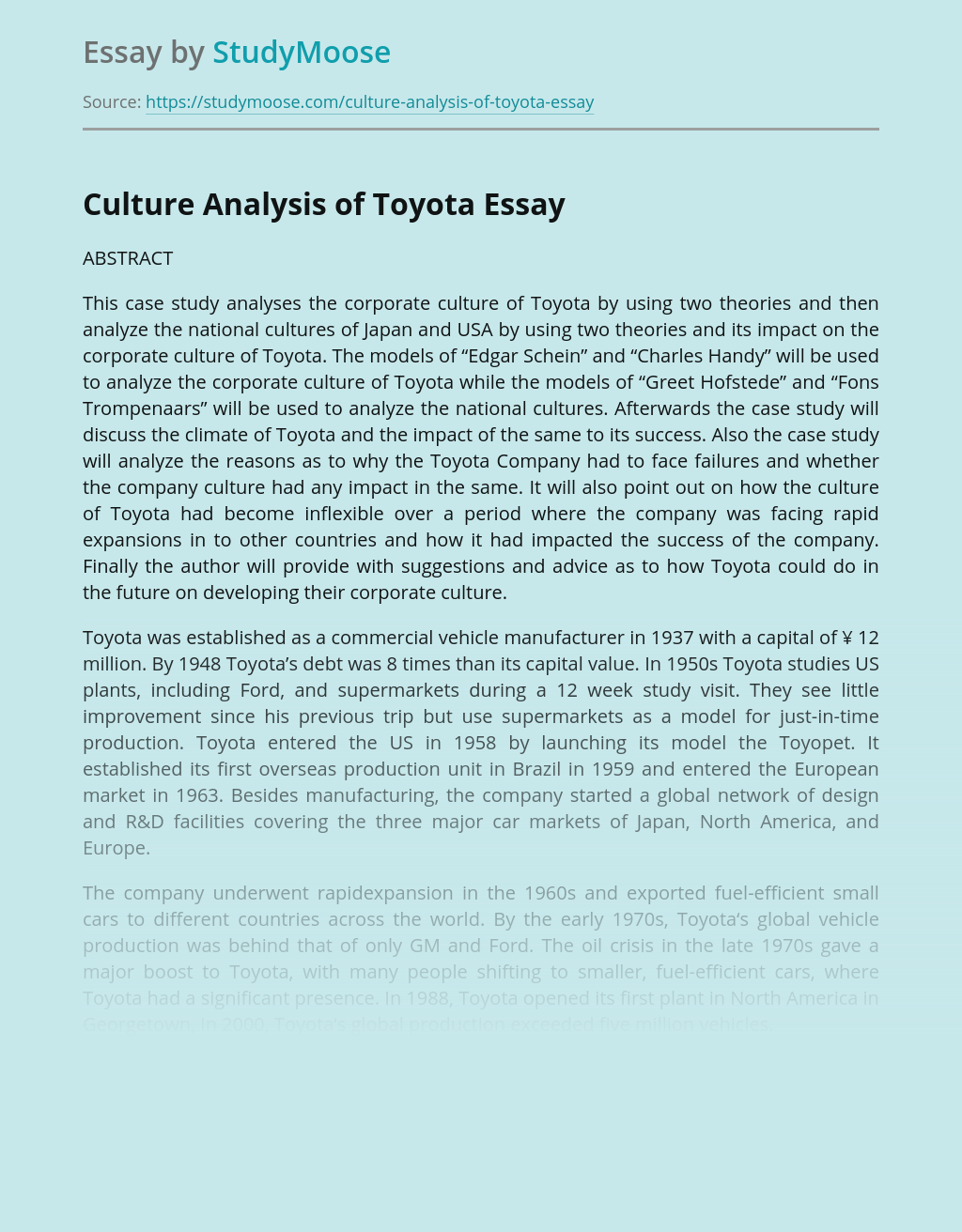 Culture Analysis of Toyota