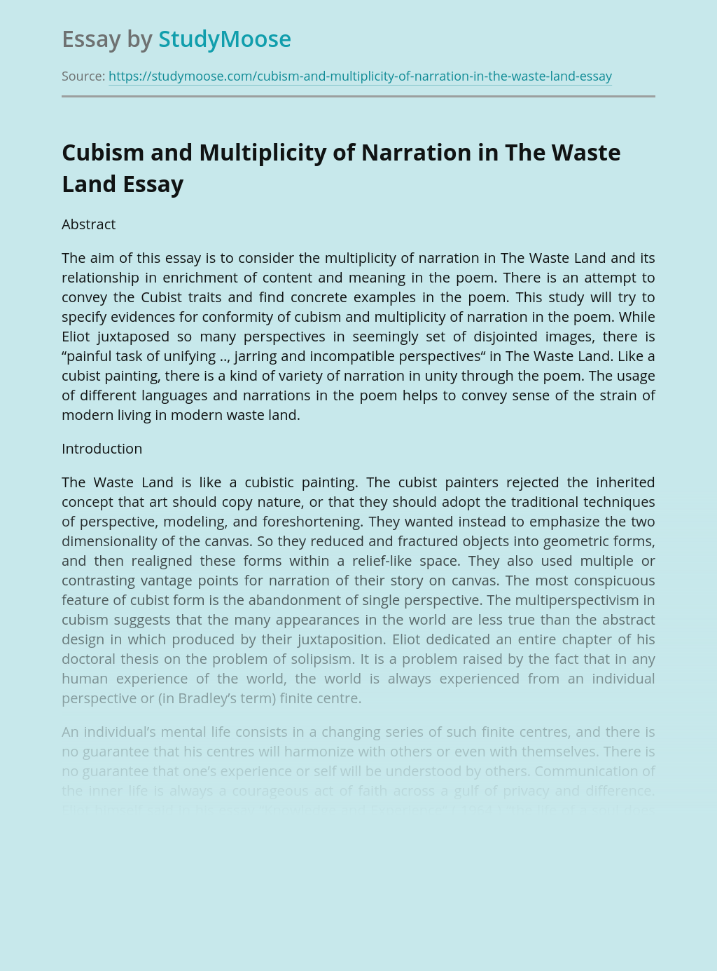 Cubism and Multiplicity of Narration in The Waste Land