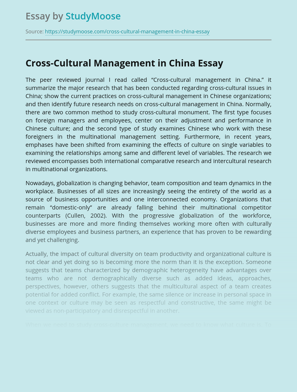 Cross-Cultural Management in China