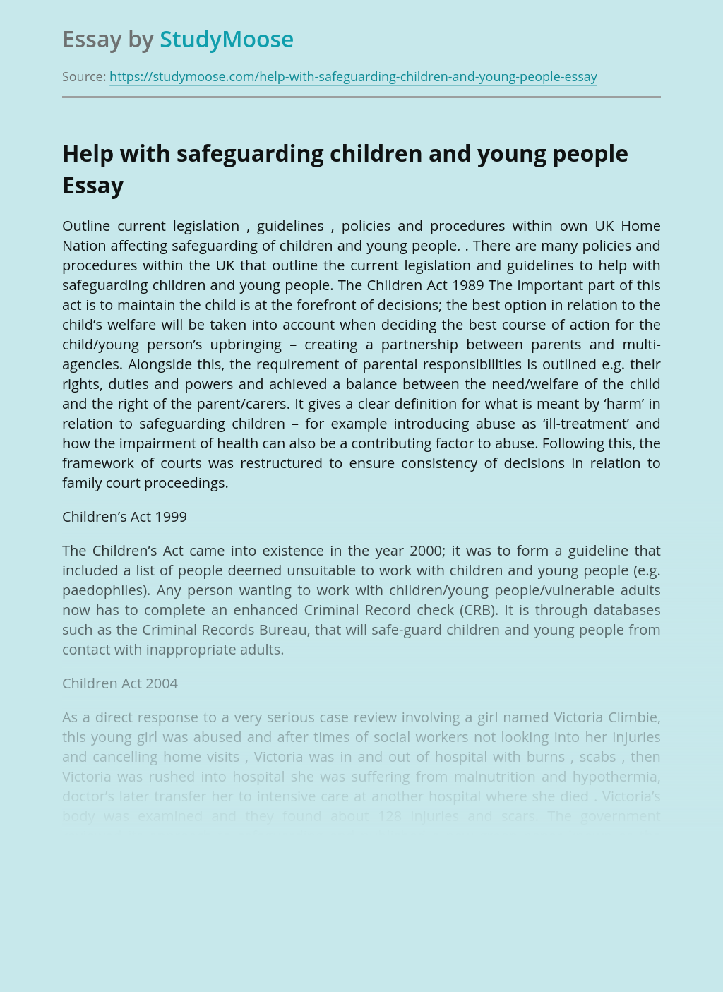 Help with safeguarding children and young people
