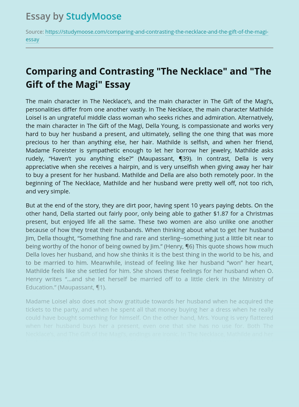 """Comparing and Contrasting """"The Necklace"""" and """"The Gift of the Magi"""""""