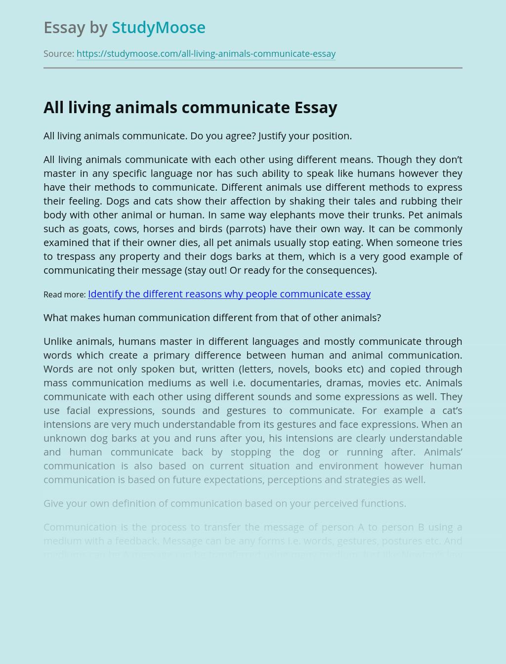 All living animals communicate