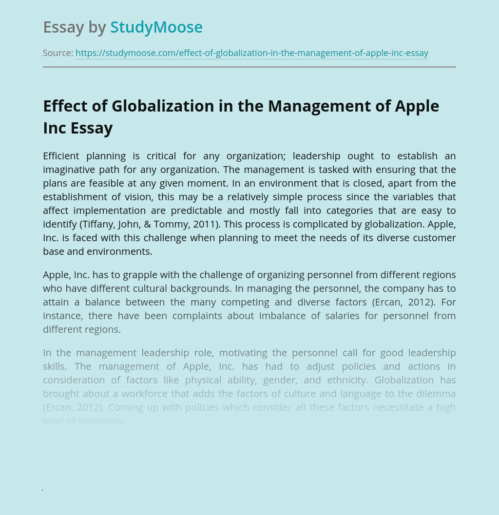 Effect of Globalization in the Management of Apple Inc