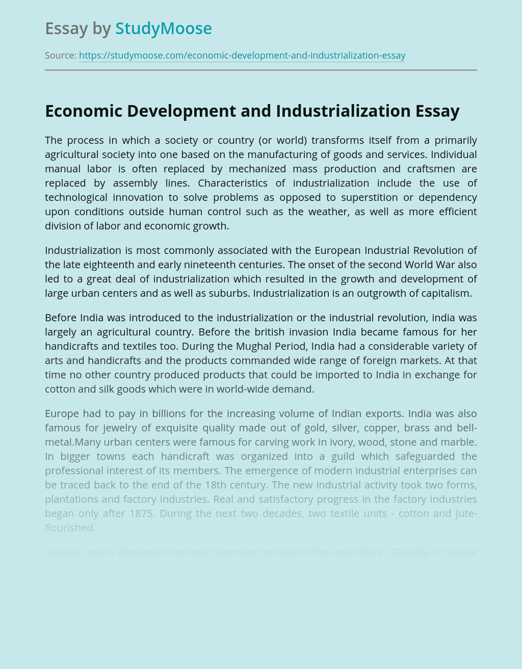Economic Development and Industrialization