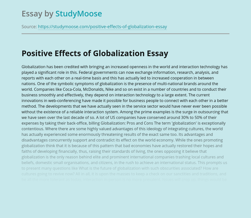 Positive Effects of Globalization
