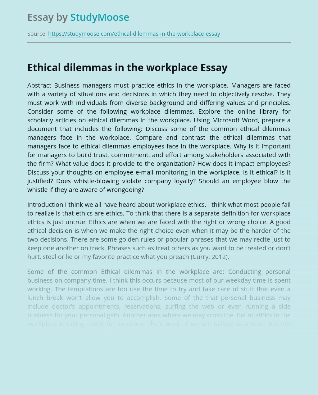 Ethical dilemmas in the workplace
