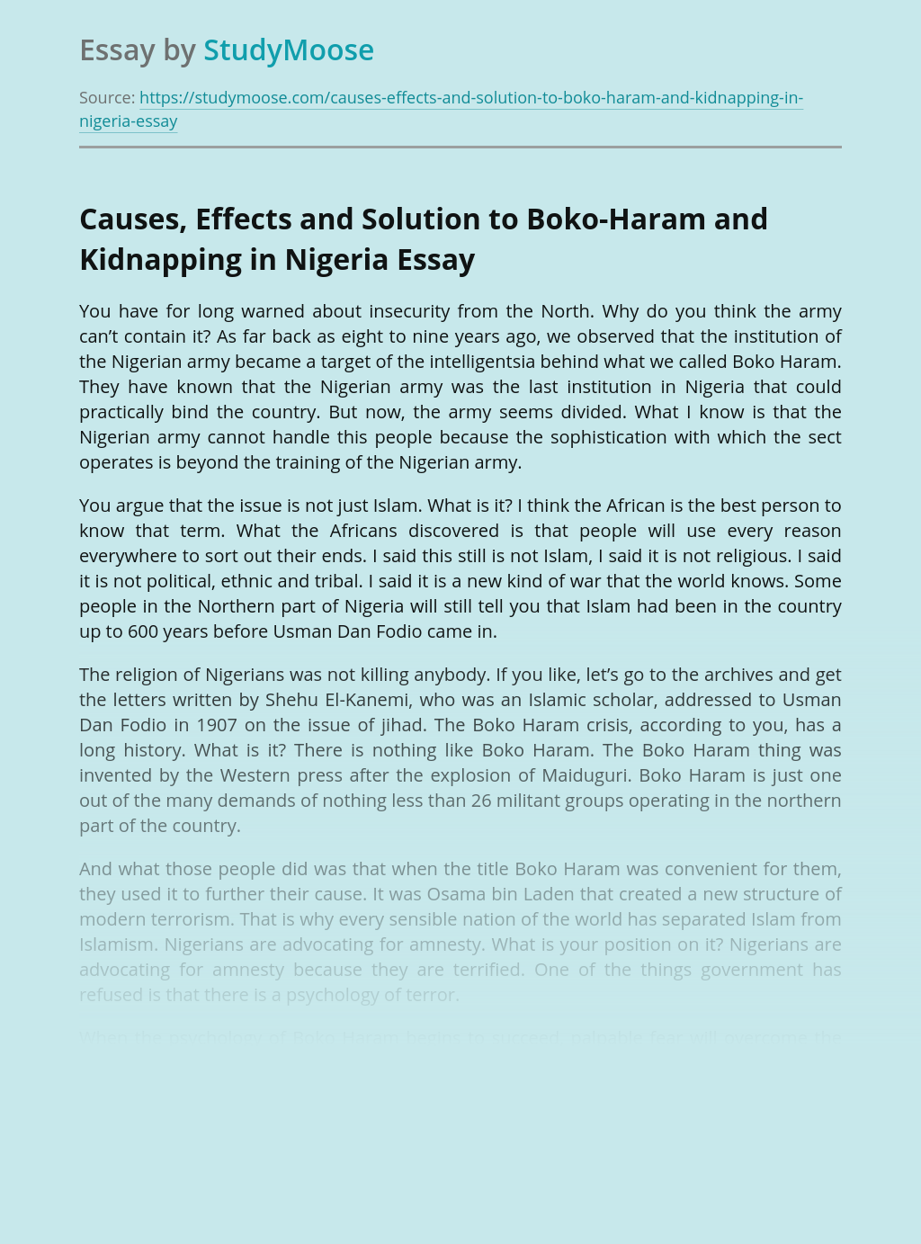 Causes, Effects and Solution to Boko-Haram and Kidnapping in Nigeria