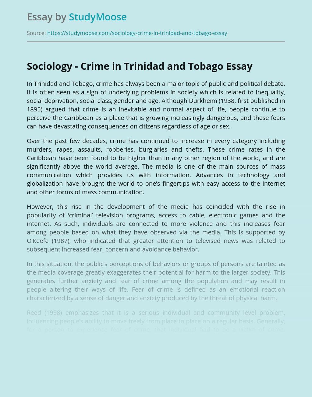 Sociology - Crime in Trinidad and Tobago