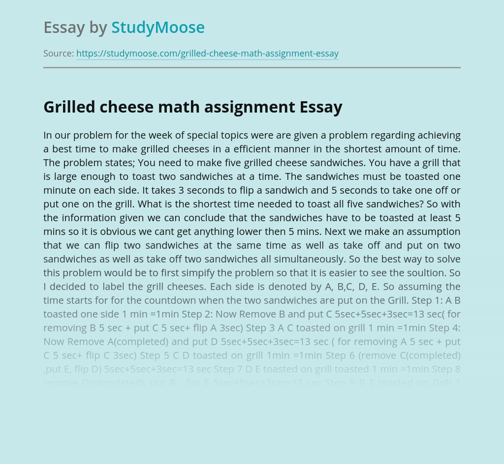 Grilled cheese math assignment