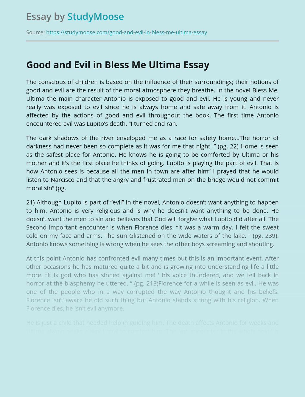 Moral Values in Bless Me Ultima