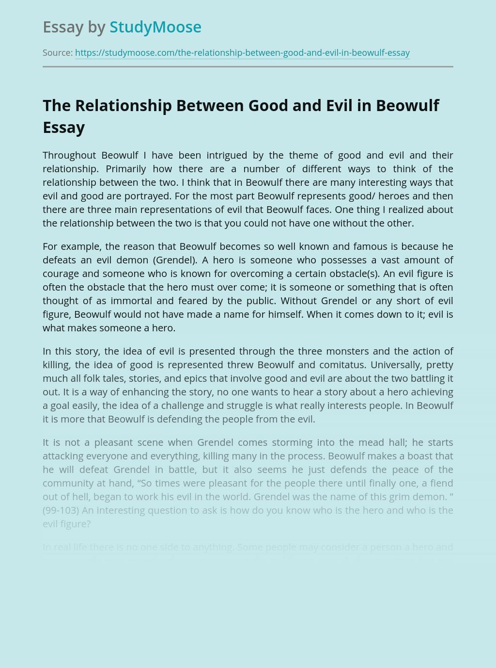The Relationship Between Good and Evil in Beowulf