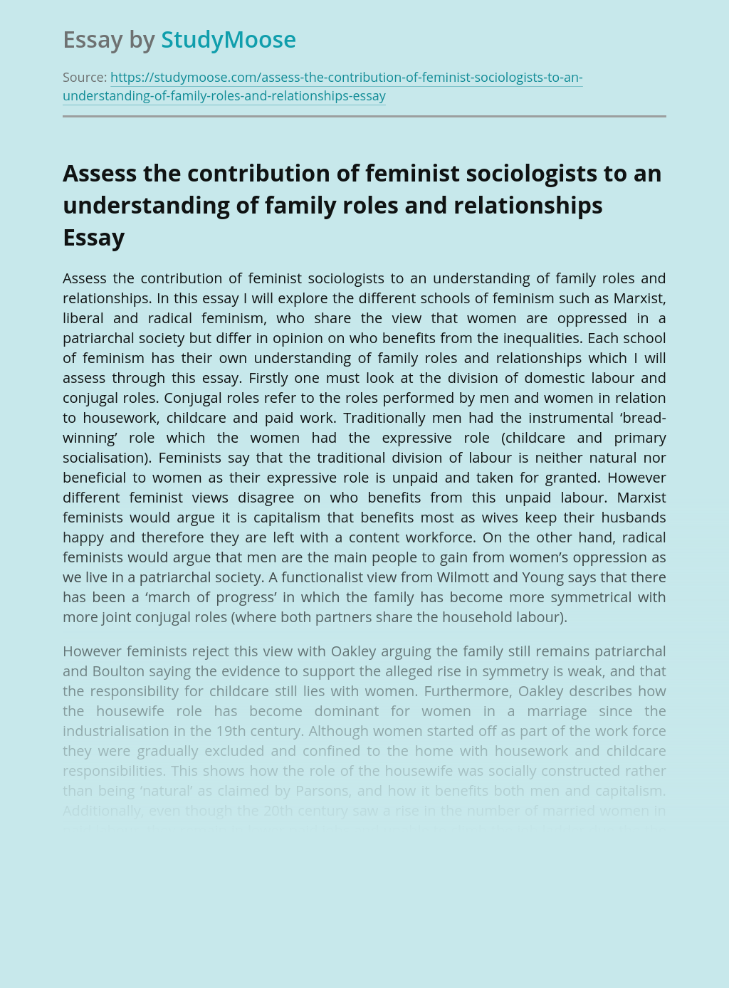 Assess the contribution of feminist sociologists to an understanding of family roles and relationships