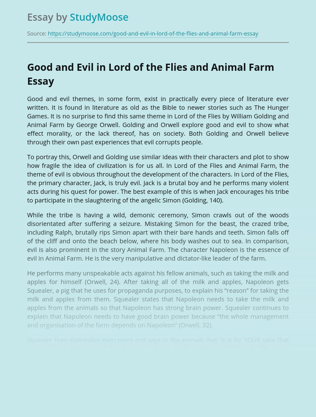 Good and Evil in Lord of the Flies and Animal Farm