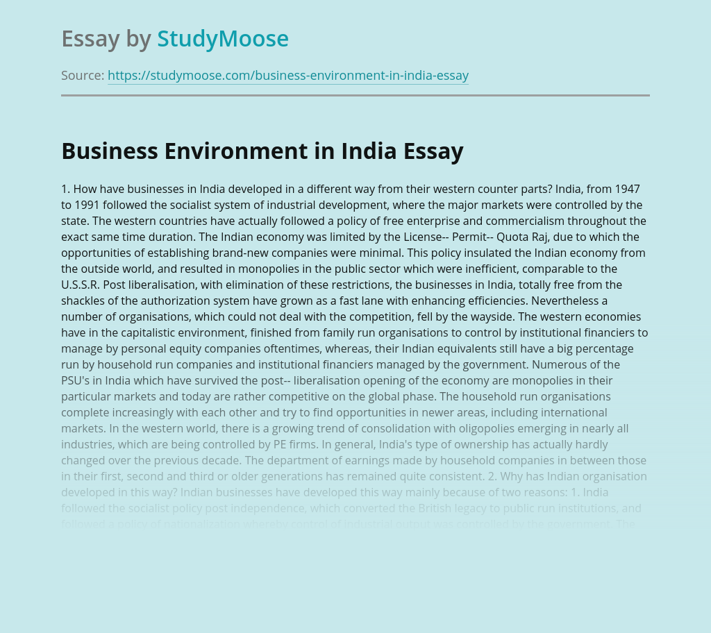 Business Environment in India