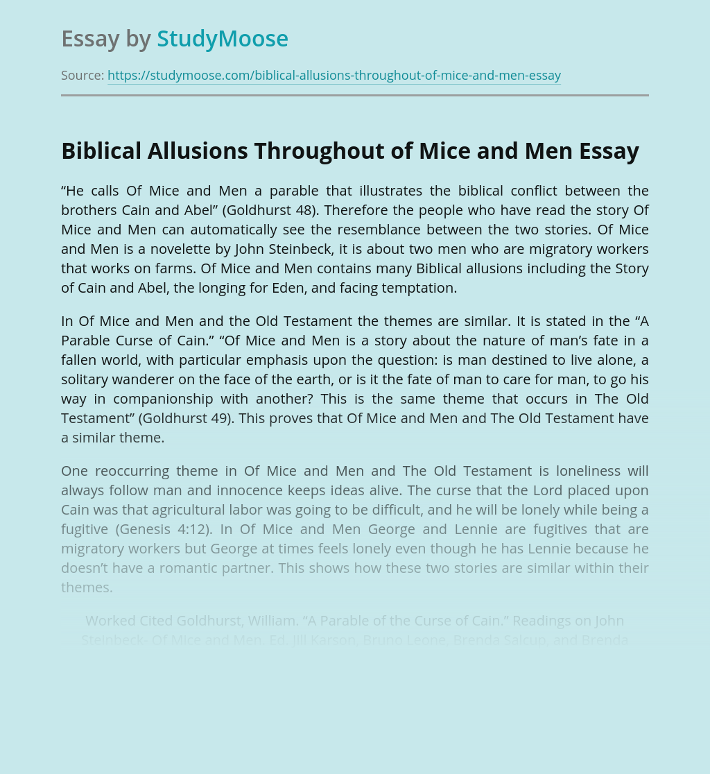 Biblical Allusions Throughout of Mice and Men