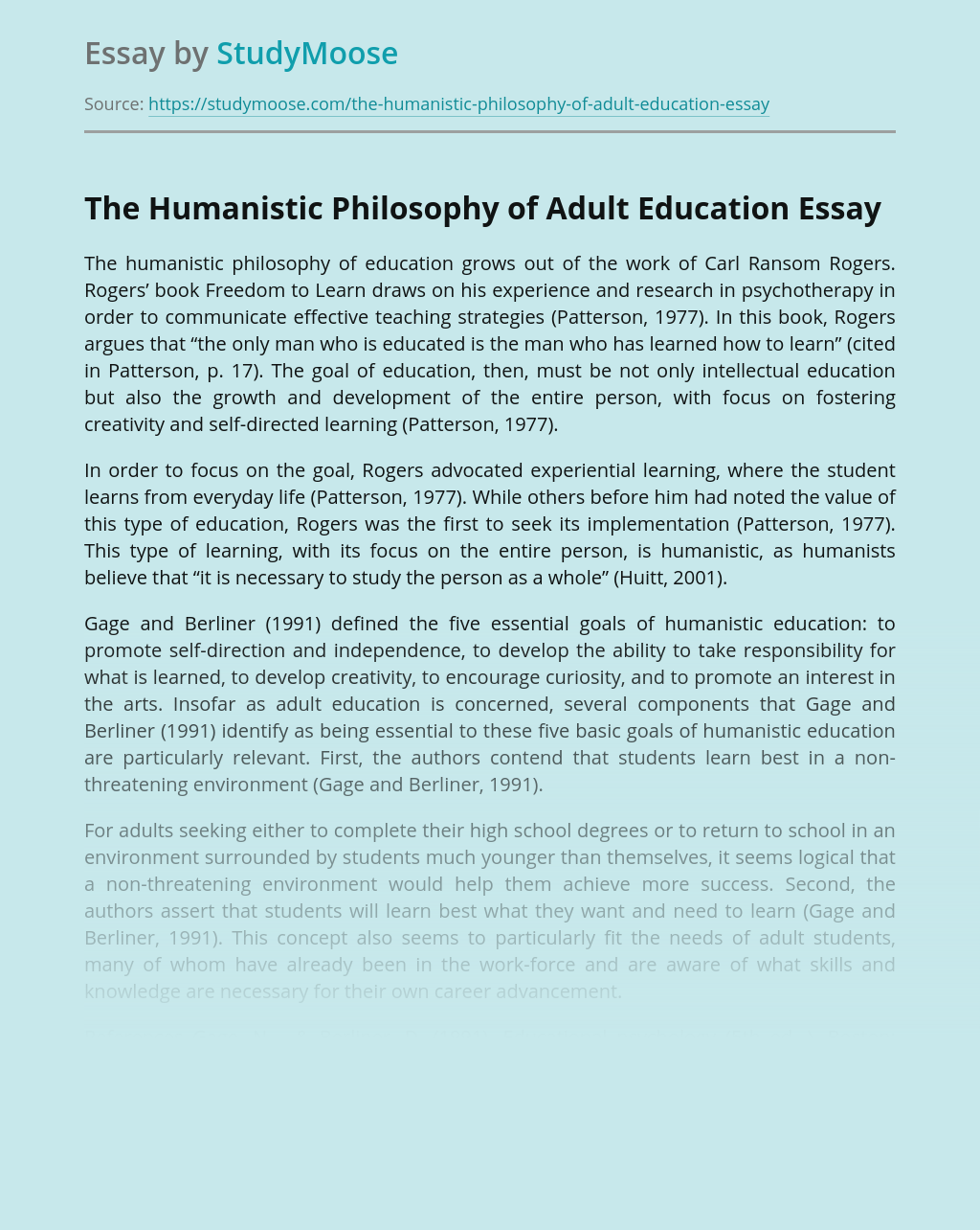 The Humanistic Philosophy of Adult Education