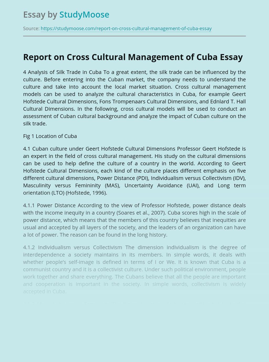 Report on Cross Cultural Management of Cuba